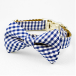 Blue Gingham Dog Bow Tie Collar